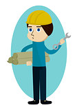 Construction worker, engineer or architect holding projects prints and wrench cartoon character