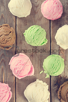 Top view assorted ice cream scoops.