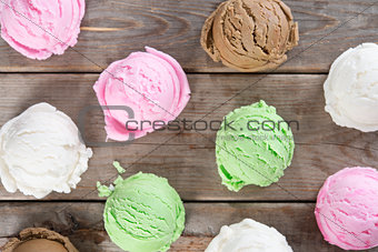 Top view ice cream scoops collection.