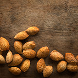 Almonds shell with copy space