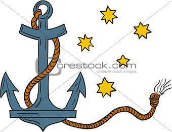 Anchor with Rope and Southern Cross Star Drawing