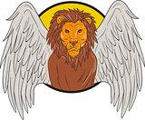 Winged Lion Head Circle Drawing