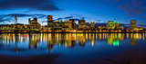 Portland City Skyline Blue Hour Panorama