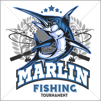 Blue marlin fishing logo illustration. Vector illustration.