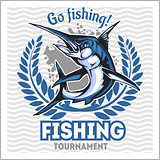 Fishing emblem with blue marlin. Badge and design elements