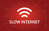 slow internet white text illustration with constellation map on red background and signal bar icon