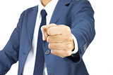 Businessman Fist Isolated on White Background on Vertical View