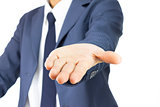 Businessman Open Palm Hand Gesture Isolated on White Background