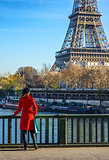 woman standing on embankment near Eiffel tower in Paris, France