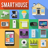 Smart House and internet of things flat icons set