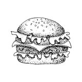 Dotwork Fast Food Burger