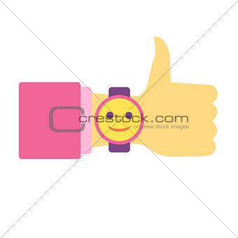 Time to have fun. Thumb Up. Hand with clock. Flat vector icon.