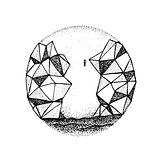 Dotwork Polygonal Rock Mountain
