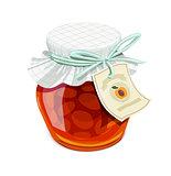 Apricot jam jar. Vintage style.
