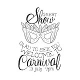 Carnival Show Hand Drawn Monochrome Mardi Gras Event Vintage Promotion Sign In Pencil Sketch Style With Calligraphic Text