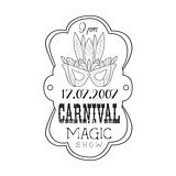 Hand Drawn Monochrome Mardi Gras Magic Carnival Vintage Promotion Sign In Pencil Sketch Style With Calligraphic Text