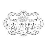 Hand Drawn Monochrome Mardi Gras Event Vintage Promotion Sign With Time And Date In Pencil Sketch Style With Calligraphic Text