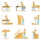 Professional Wood Jointer At Work Crafting Wooden Furniture And Other Construction Elements Vector Illustrations