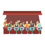 Gang Of Bikers And One Skinny Young Guy Stting At The Counter With Calm Barmen Behind , Beer Bar And Criminal Looking Muscly Men Having Good Time Illustration