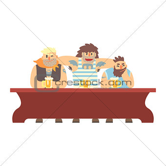 Three Gang Members With Scull Tatoo Drinking At The Long Table, Beer Bar And Criminal Looking Muscly Men Having Good Time Illustration