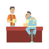 Lonly Biker Gang Member In Jeans Outfit At The Counter With Calm Barman, Beer Bar And Criminal Looking Muscly Men Having Good Time Illustration