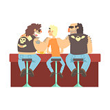 Two Biker Gang Members Scarying Skinny Bar Client, Beer Bar And Criminal Looking Muscly Men Having Good Time Illustration