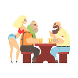 Two Lumberjacks Chatting At The Table With Sexy Waitress Leaning At Ones Back, Beer Bar And Criminal Looking Muscly Men Having Good Time Illustration
