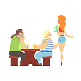 Two Bar Clients Harrassing Sexy Waitress Serving Drinks, Beer Bar And Criminal Looking Muscly Men Having Good Time Illustration