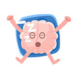 Humanized Brain Sleeping On The Back On The Pillow, Intellect Human Organ Cartoon Character Emoji Icon