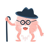 Humanized Wise And Old Brain With Walking Stick And Long Beard , Intellect Human Organ Cartoon Character Emoji Icon