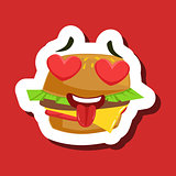 Burger Sandwich In Love With Hearts In Eyes, Cute Emoji Sticker On Red Background