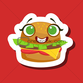 Smiling Burger Sandwich, Cute Emoji Sticker On Red Background