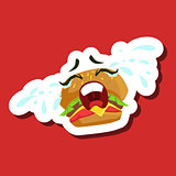 Burger Sandwich Crying Out Loud, Cute Emoji Sticker On Red Background