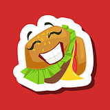 Happy Smiling Burger Sandwich, Cute Emoji Sticker On Red Background