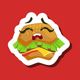 Upset Burger Sandwich, Cute Emoji Sticker On Red Background