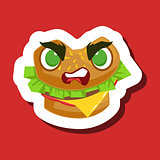 Angry Burger Sandwich, Cute Emoji Sticker On Red Background