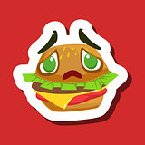Disappointed And Sad Burger Sandwich, Cute Emoji Sticker On Red Background