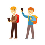 Two Boys Walking From School With Their Backpacks And Smartphones, Person Being Online All The Time Obsessed With Gadget