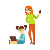 Mother With Smartphone And Girl With Ponytails And Lap Top, Person Being Online All The Time Obsessed With Gadget
