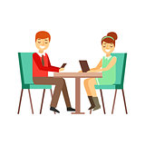 Couple On The Date In Cafe Peering At Their Smartphone And Tablet, Person Being Online All The Time Obsessed With Gadget