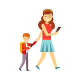 Mother Walking Son To School Both Looking At Smartphone Screen, Person Being Online All The Time Obsessed With Gadget