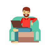 MAn At Home In Armchair With Lap Top, Person Being Online All The Time Obsessed With Gadget