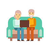 Old Couple Sitting On The Sofa With Lap Top, Person Being Online All The Time Obsessed With Gadget