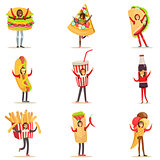 People Wearing Fast Food Snacks Costumes Disguised As Cafe Menu Items Set Of Cartoon Characters