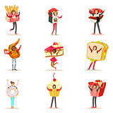 People Wearing Fast Food Snacks Costumes Disguised As Cafe Menu Items Collection Of Cartoon Characters