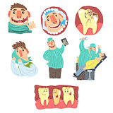 Funny Cartoon Dentist And Patient Illustration Set With Dental Care Procedures And Humanized Teeth Characters