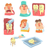 Funny Cartoon Dentist And Patient Illustration Series With Dental Care Procedures And Humanized Teeth Characters