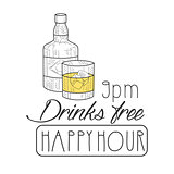Bar Happy Hour Promotion Sign Design Template Hand Drawn Hipster Sketch With Whiskey Bottle And Glass
