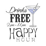 Bar Happy Hour Promotion Sign Design Template Hand Drawn Hipster Sketch With Martini Cocktail Glass