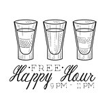 Bar Happy Hour Promotion Sign Design Template Hand Drawn Hipster Sketch With Three Shots